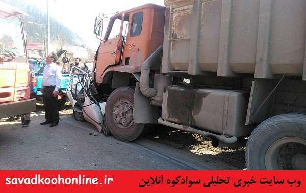 تصادف مرگبار کامیون با پراید در محور سوادکوه